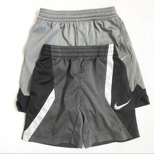 Nike athletic long shorts gray black elastic waist